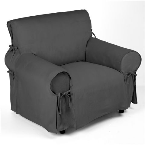 housse de fauteuil grise finition nouettes gris ebay. Black Bedroom Furniture Sets. Home Design Ideas