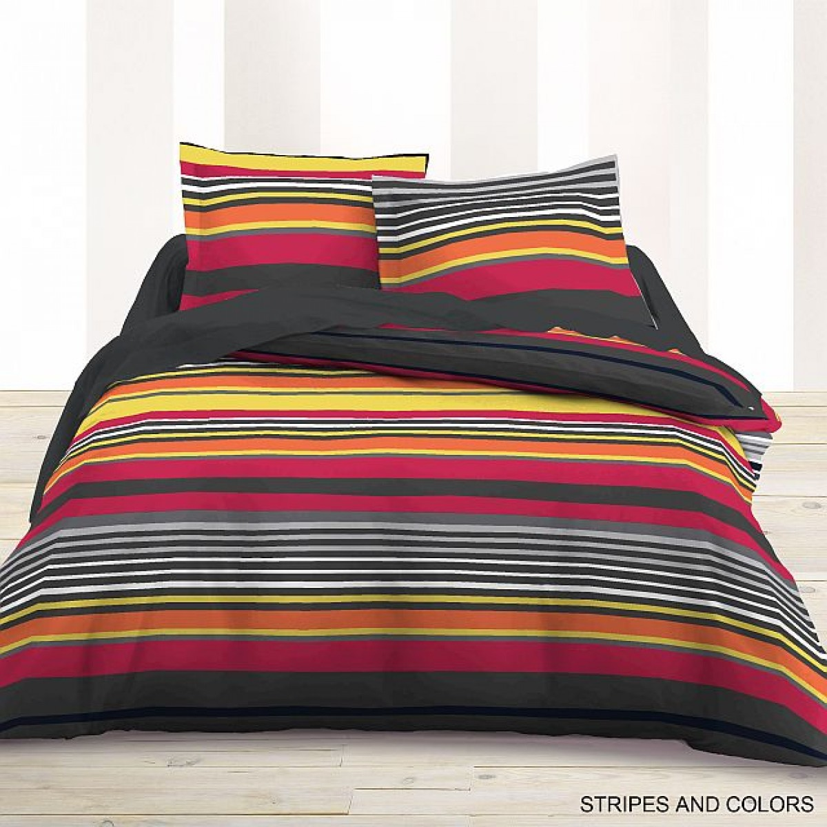parure de lit 4 pi ces flanelle imprim e stripes colors les douces nuits de ma linge de maison. Black Bedroom Furniture Sets. Home Design Ideas