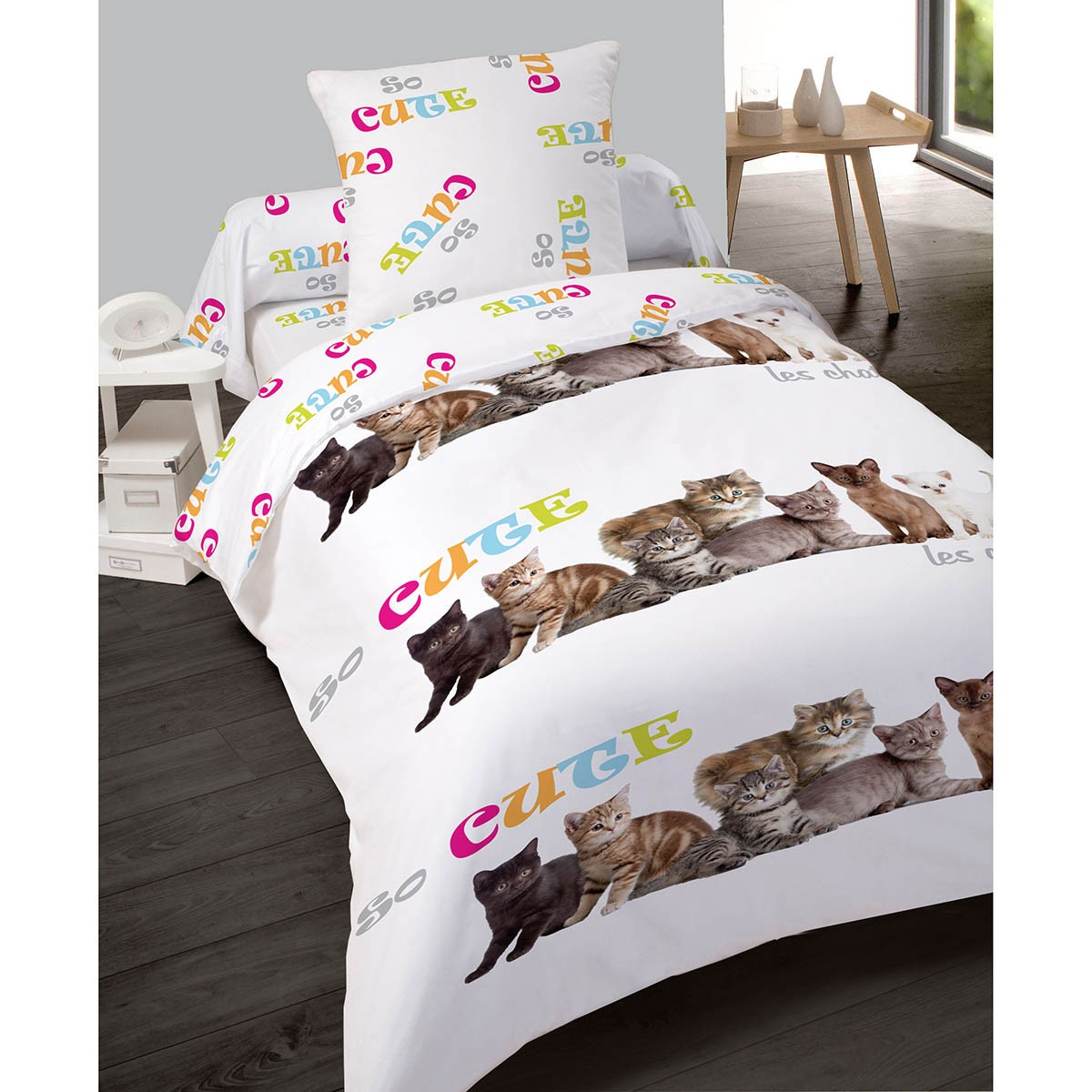 housse de couette 140x200cm so cute chat en polyester les douces nuits de ma linge de maison. Black Bedroom Furniture Sets. Home Design Ideas