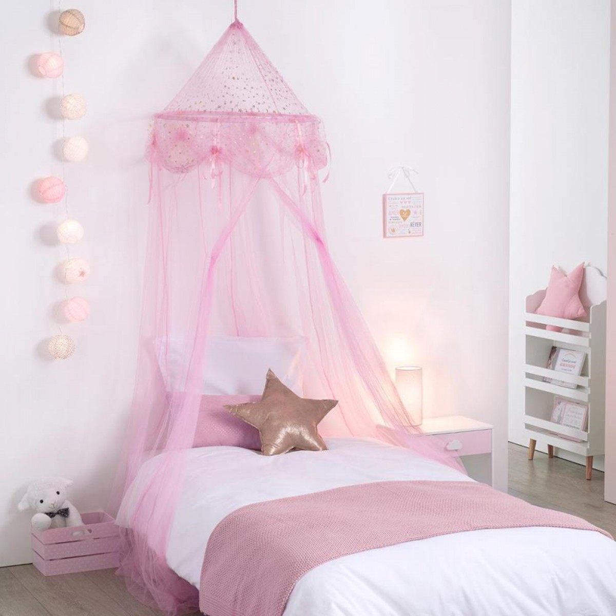 ciel de lit demoiselle rose les douces nuits de ma linge de maison. Black Bedroom Furniture Sets. Home Design Ideas