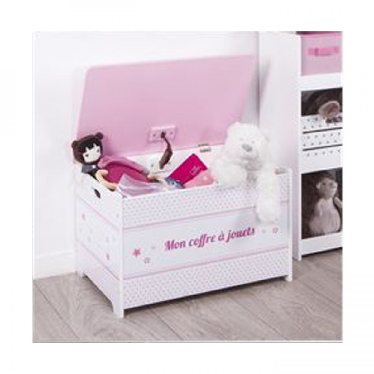 coffre jouets rose en bois les douces nuits de ma linge de maison. Black Bedroom Furniture Sets. Home Design Ideas