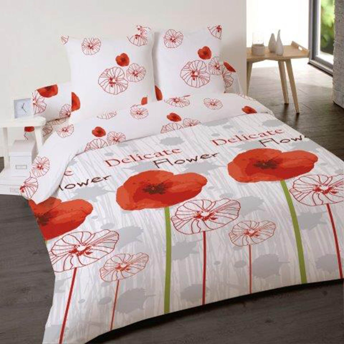 marvelous housse de couette coquelicot 4 housse de couette grise coquelicot flower 220x240 2. Black Bedroom Furniture Sets. Home Design Ideas