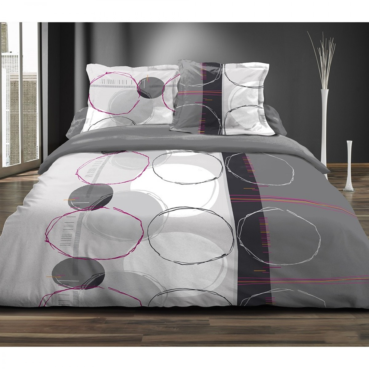 couette imprim e 220x240 cm cercles doodles les douces nuits de ma linge de maison. Black Bedroom Furniture Sets. Home Design Ideas