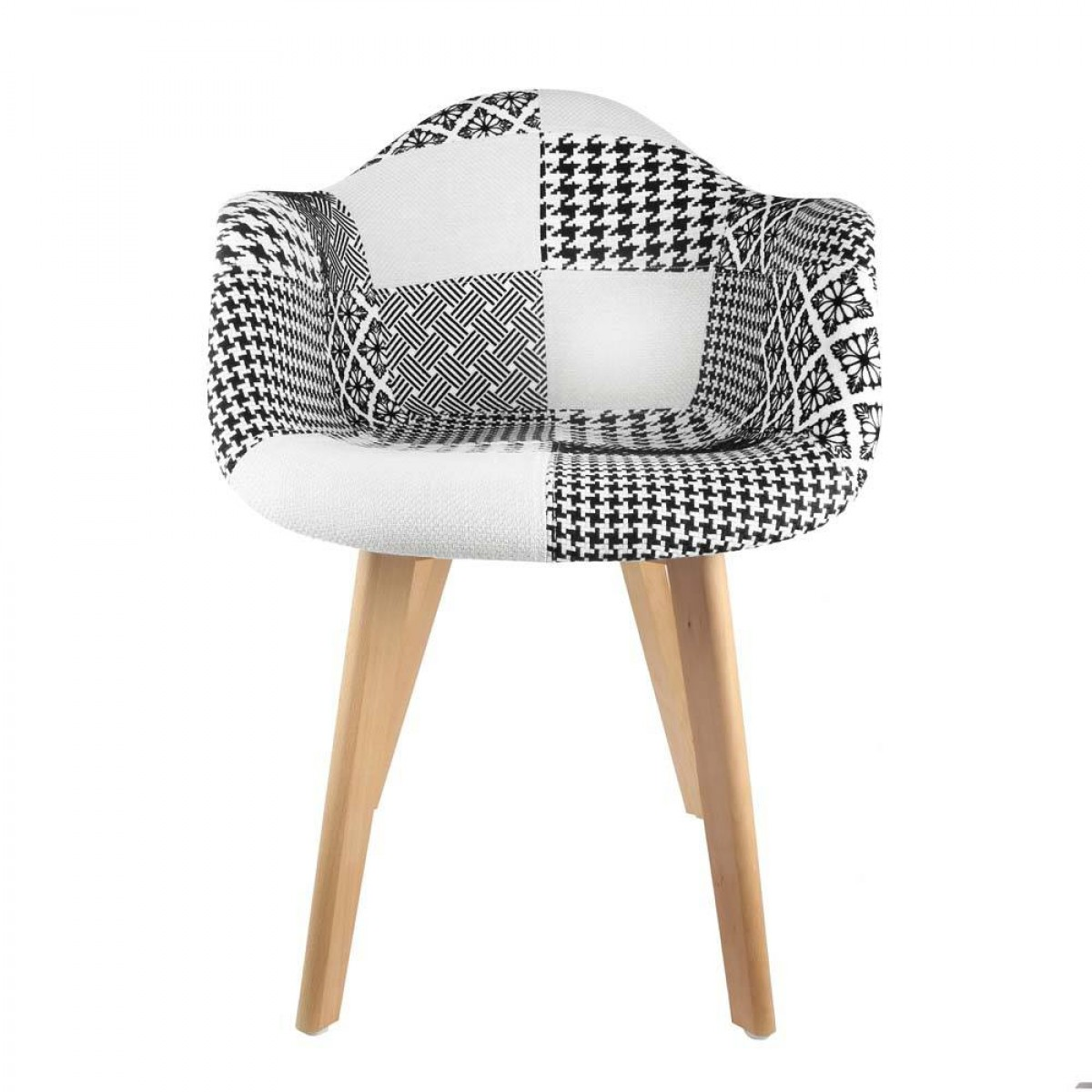 fauteuil scandinave patchwork noir blanc les douces nuits de ma linge de maison. Black Bedroom Furniture Sets. Home Design Ideas