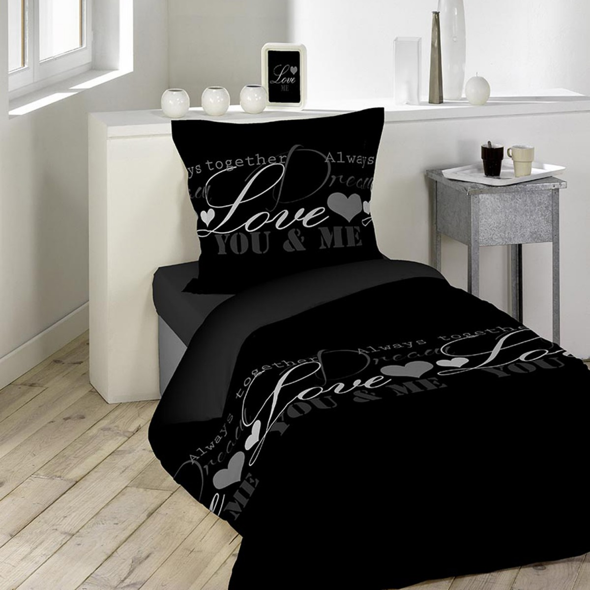 housse de couette love dreams 140x200 cm les douces nuits de ma linge de maison. Black Bedroom Furniture Sets. Home Design Ideas