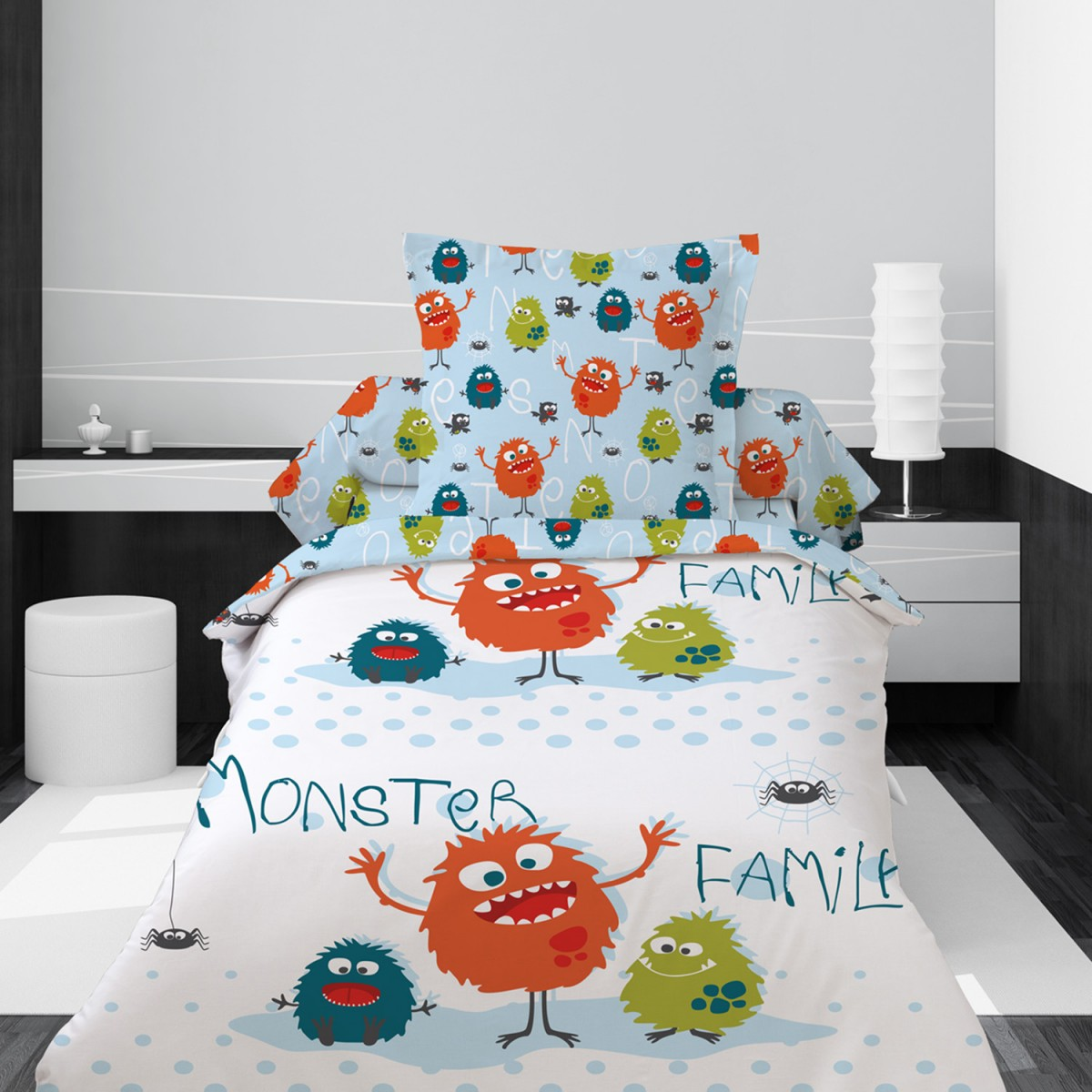 housse de couette 1 personne monster family les douces nuits de ma linge de maison. Black Bedroom Furniture Sets. Home Design Ideas
