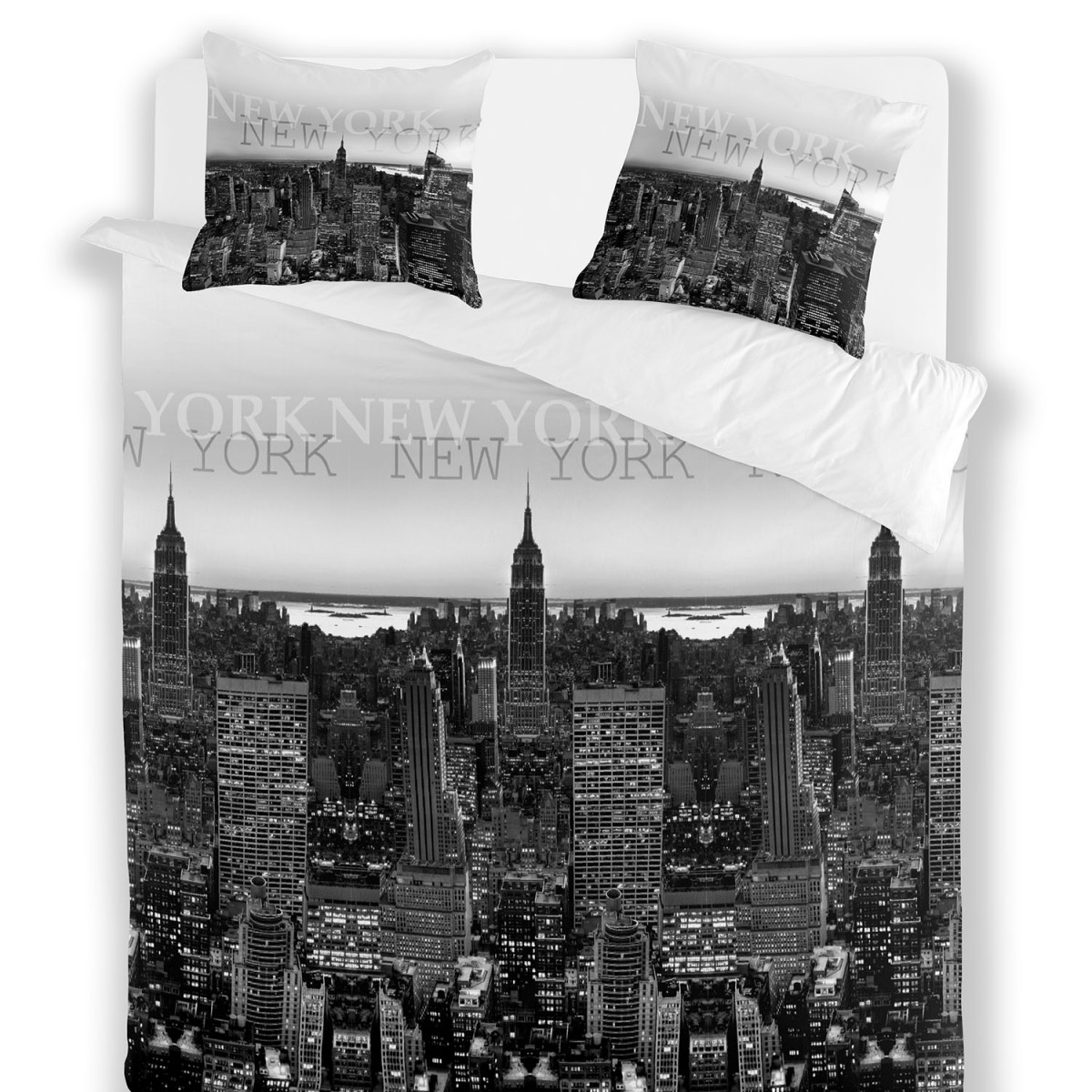 Ensemble housse de couette 220 sur 240 et taies ny day for Drap housse new york