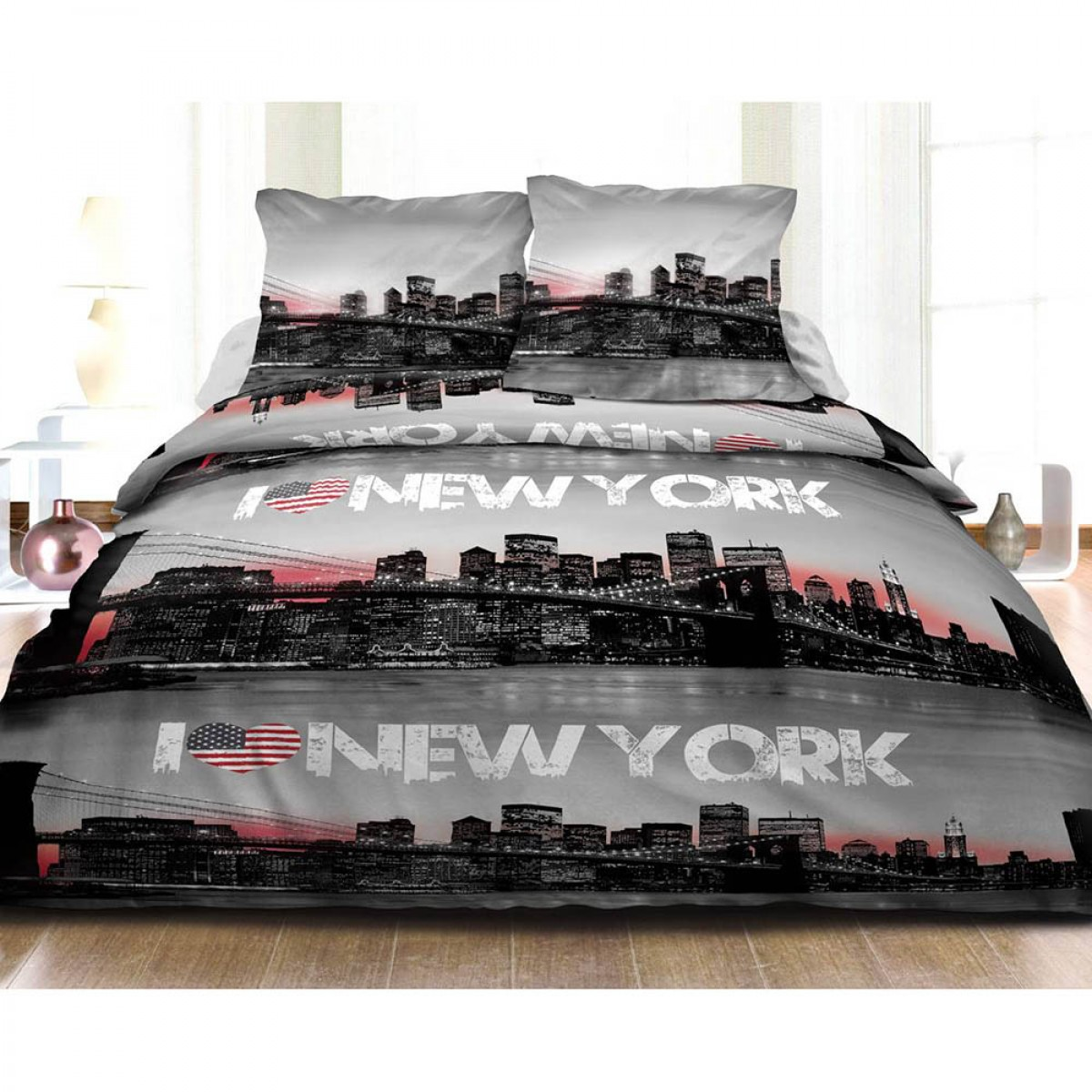Housse de couette 240x260cm new york 2 taies 100 coton for Housse new york