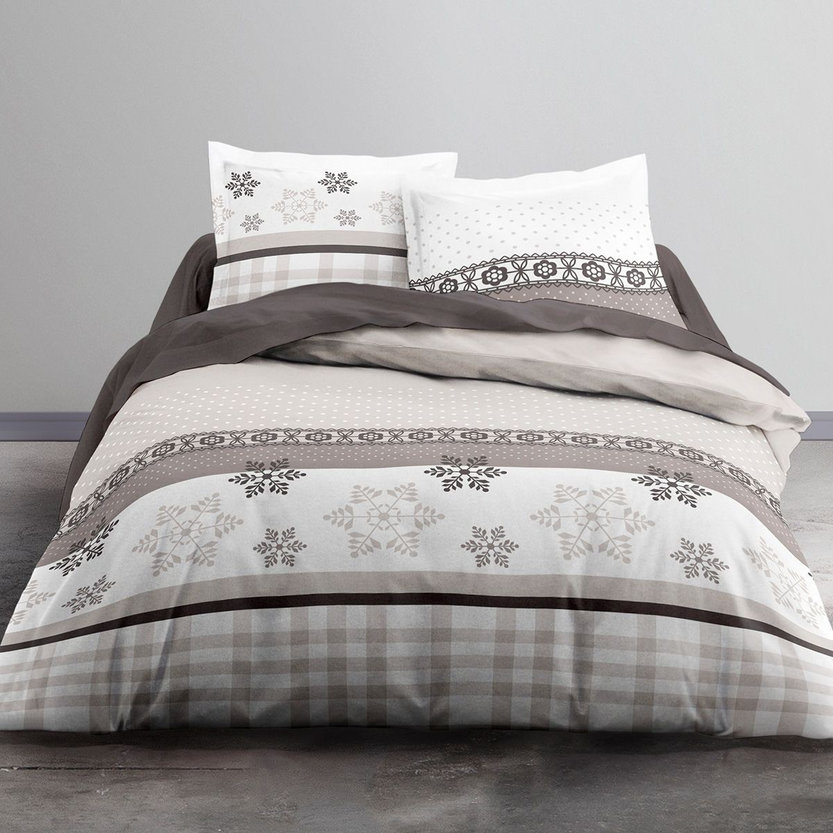 Housse de couette 220x240 TODAY ROSIE + 2 taies 100% coton flanelle 98f7efae0185