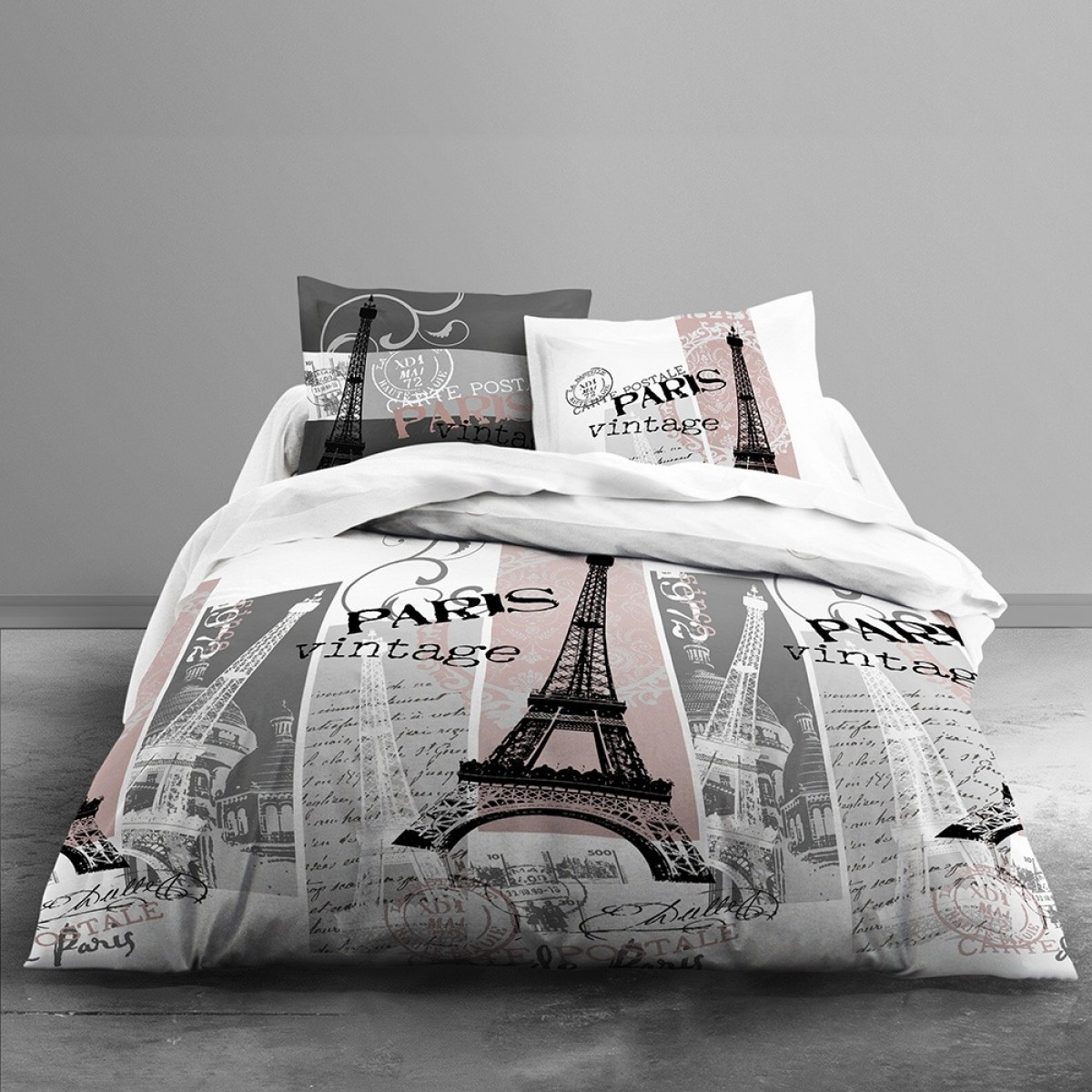 housse de couette vintage paris today 240 x 260 cm avec taies d 39 oreillers 100 coton les. Black Bedroom Furniture Sets. Home Design Ideas