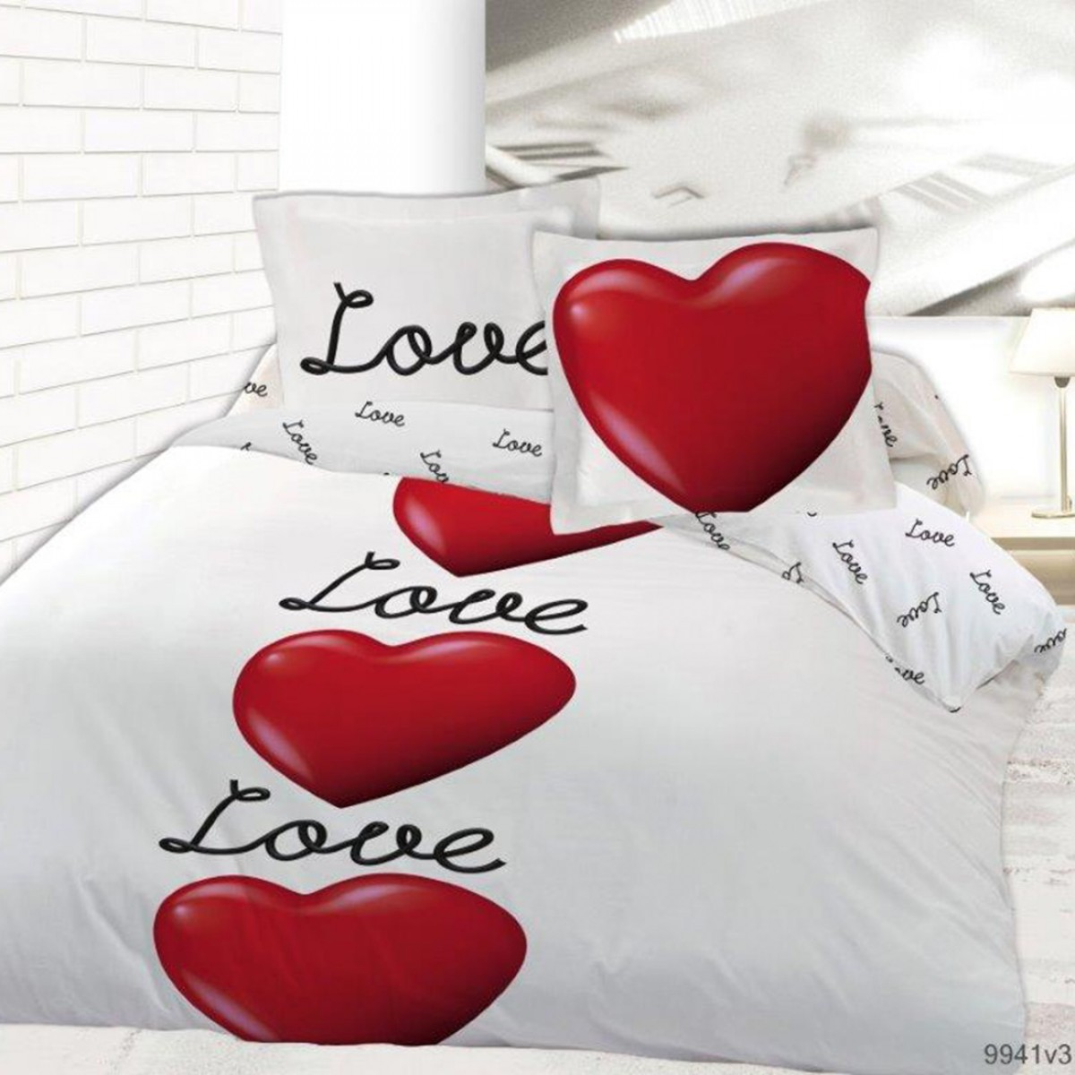 Housse de couette love is in the air 200x200 les douces for Housse de couette blanche et rouge