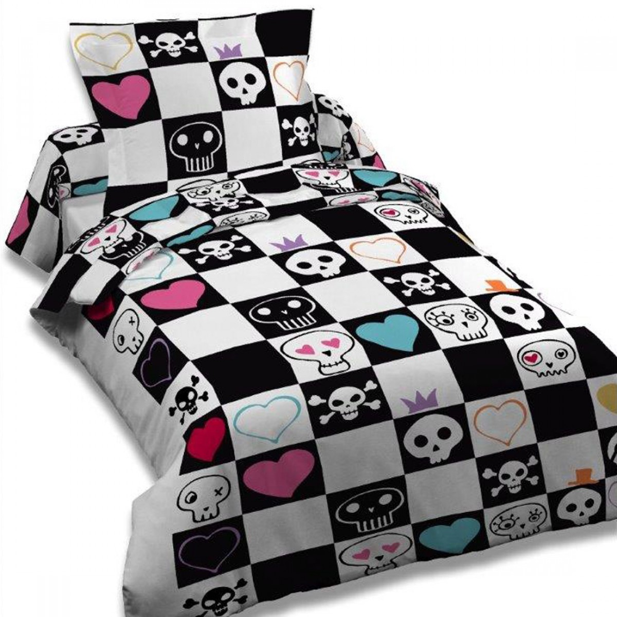housse de couette 140x200 skully in bed les douces nuits de ma linge de maison. Black Bedroom Furniture Sets. Home Design Ideas