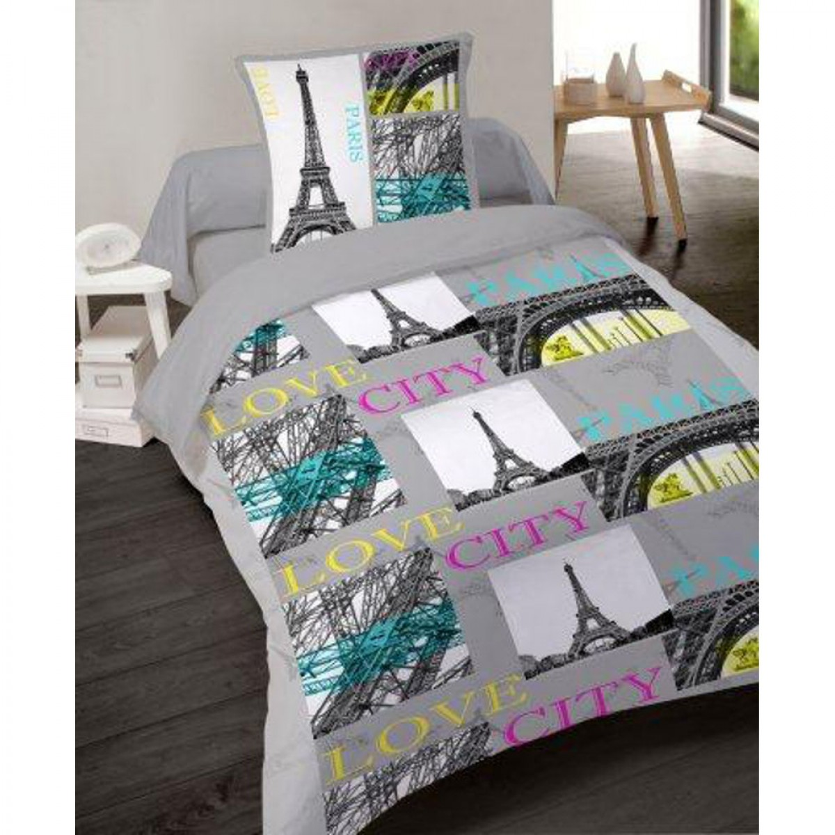 housse de couette paris city 140 200 cm 1 taie d 39 oreiller 65 65 les douces nuits de ma. Black Bedroom Furniture Sets. Home Design Ideas