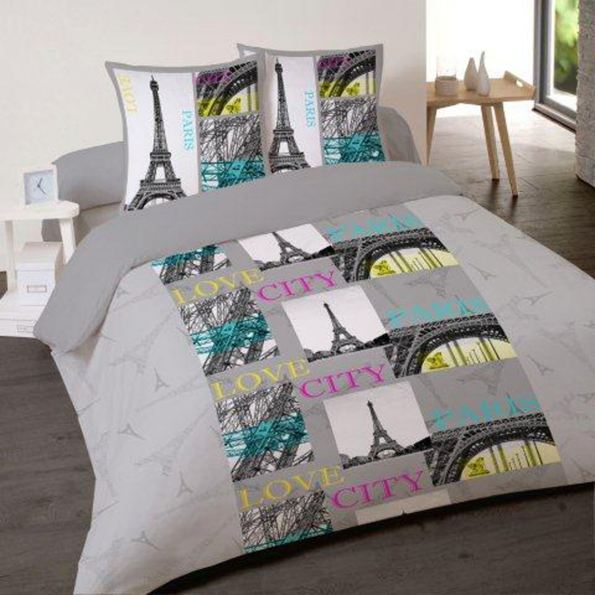 Housse de couette paris city 220 240 cm 2 taies d for Housse de couette paris 1 place