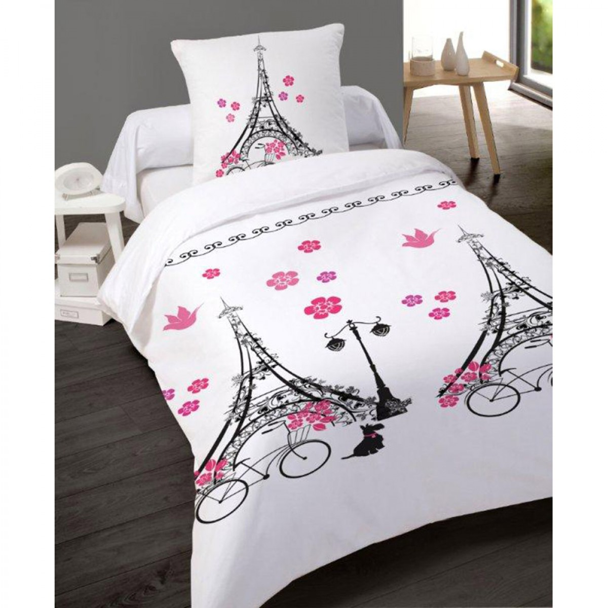 housse de couette 140x200 cm paris v lo en coton les douces nuits de ma linge de maison. Black Bedroom Furniture Sets. Home Design Ideas