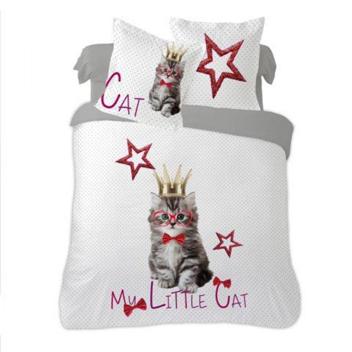 housse de couette little cat 220x240 cm en flanelle les douces nuits de ma linge de maison. Black Bedroom Furniture Sets. Home Design Ideas