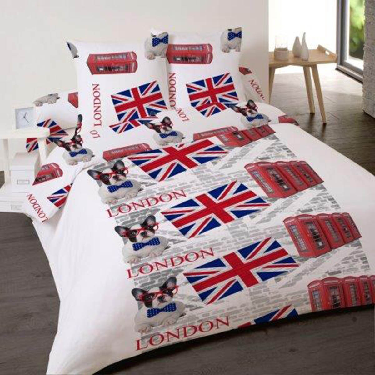 Housse de couette london rock 220x240 2 taies d 39 oreiler for Housse de couette london 220x240