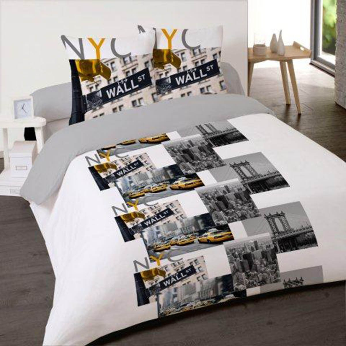 housse de couette ny city trip 200x200 cm 100 coton les douces nuits de ma linge de maison. Black Bedroom Furniture Sets. Home Design Ideas