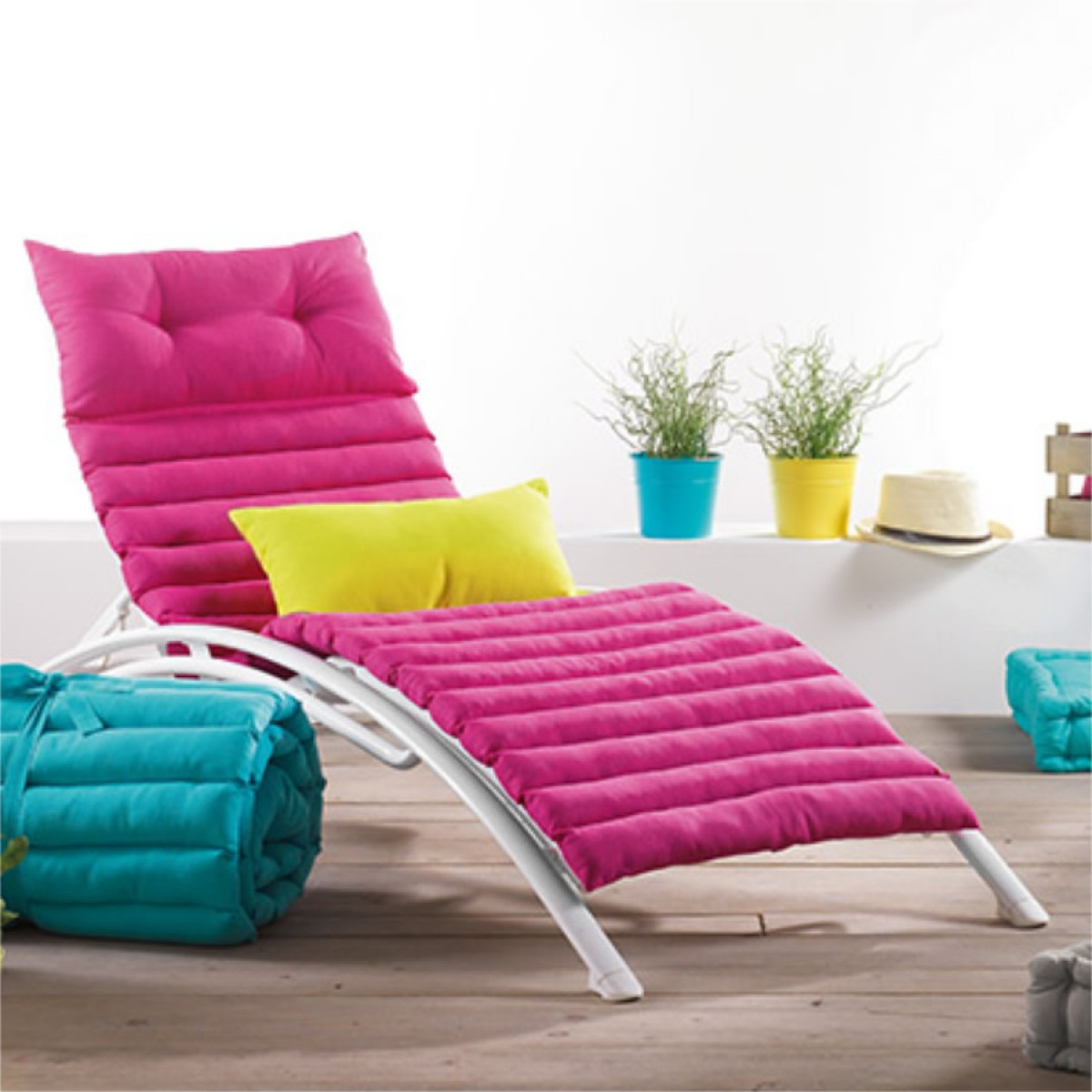 coussin de bain de soleil pacifique uni fuchsia 60x180cm. Black Bedroom Furniture Sets. Home Design Ideas