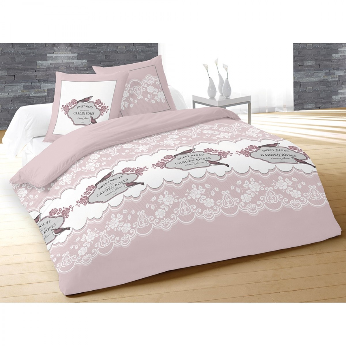 housse de couette 240x260 cm 100 coton garden rose 2 taies les douces nuits de ma linge. Black Bedroom Furniture Sets. Home Design Ideas