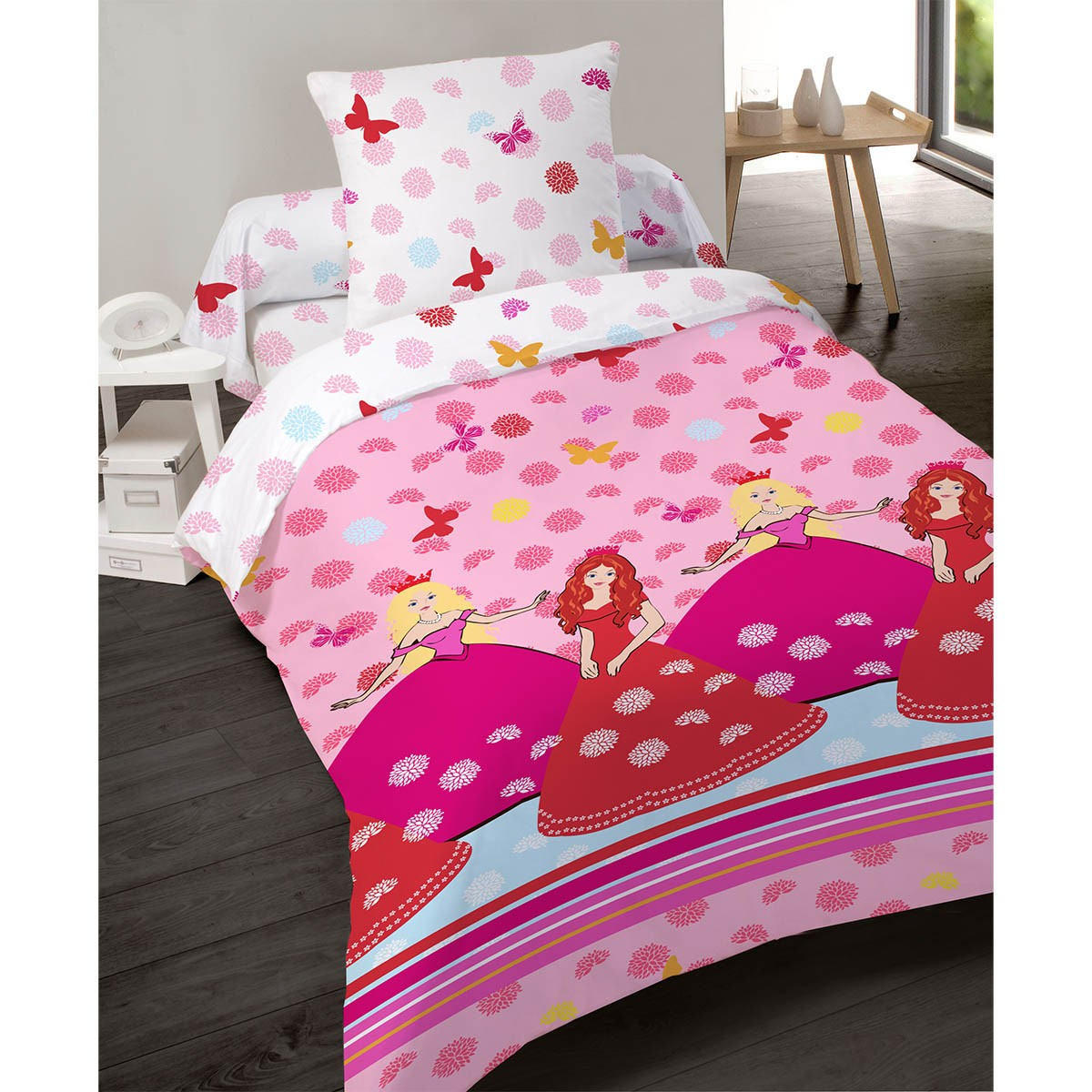 housse de couette 140x200cm princesse rose en polyester. Black Bedroom Furniture Sets. Home Design Ideas