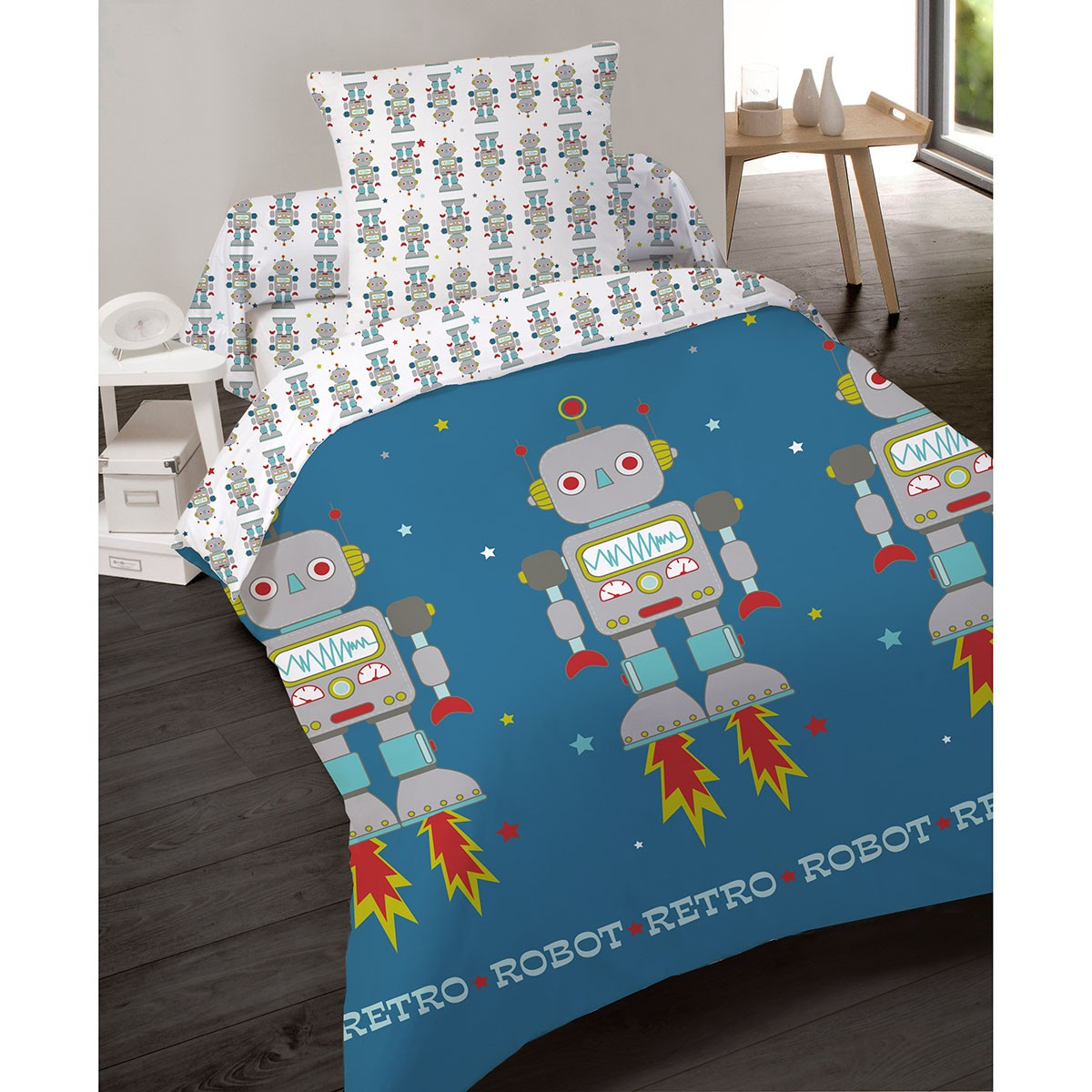 housse de couette 140x200cm robot r tro en polyester les douces nuits de ma linge de maison. Black Bedroom Furniture Sets. Home Design Ideas