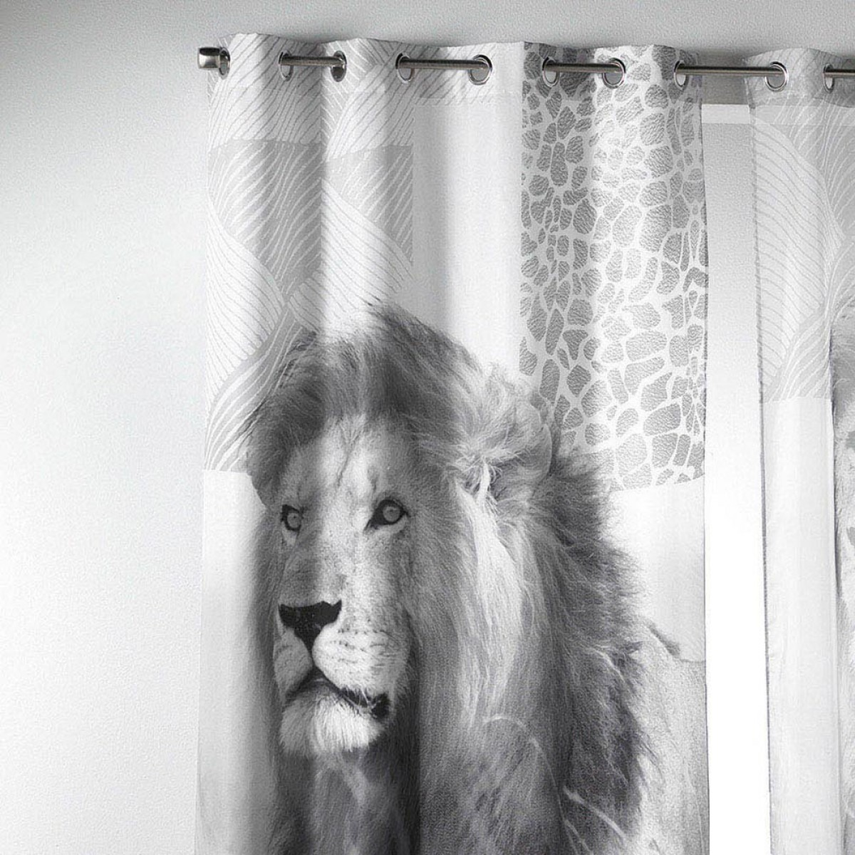 rideau oeillets 140x260cm lion les douces nuits de ma linge de maison. Black Bedroom Furniture Sets. Home Design Ideas