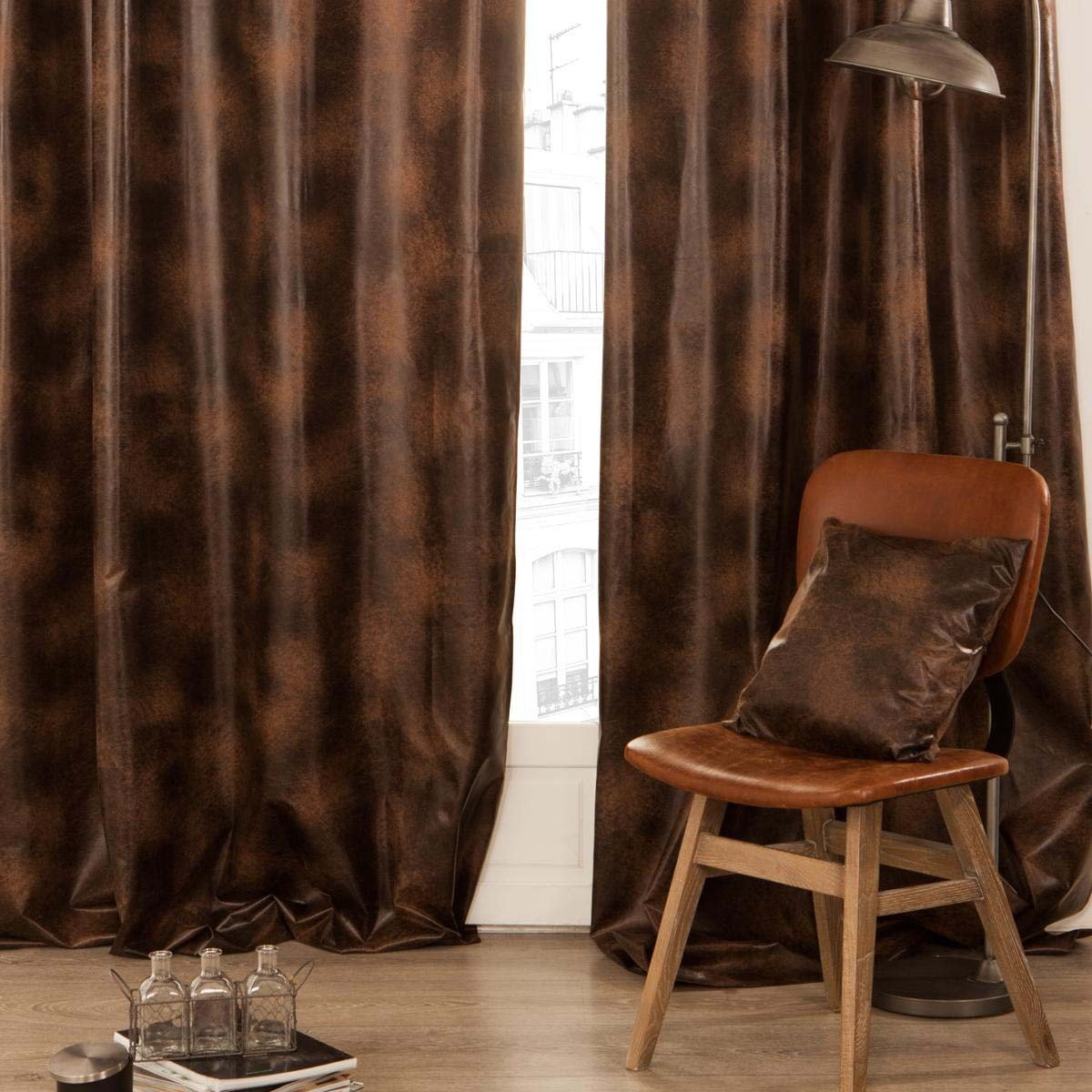 Rideau illets 140x260cm marron les douces nuits de ma linge de maison for Rideau salon marron