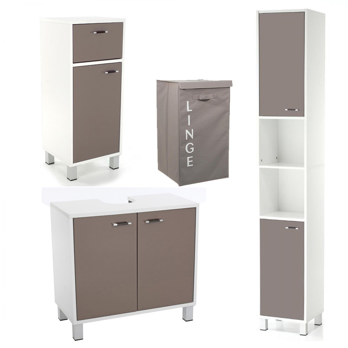 meuble bas de salle de bain glossy taupe les douces nuits de ma linge de maison. Black Bedroom Furniture Sets. Home Design Ideas