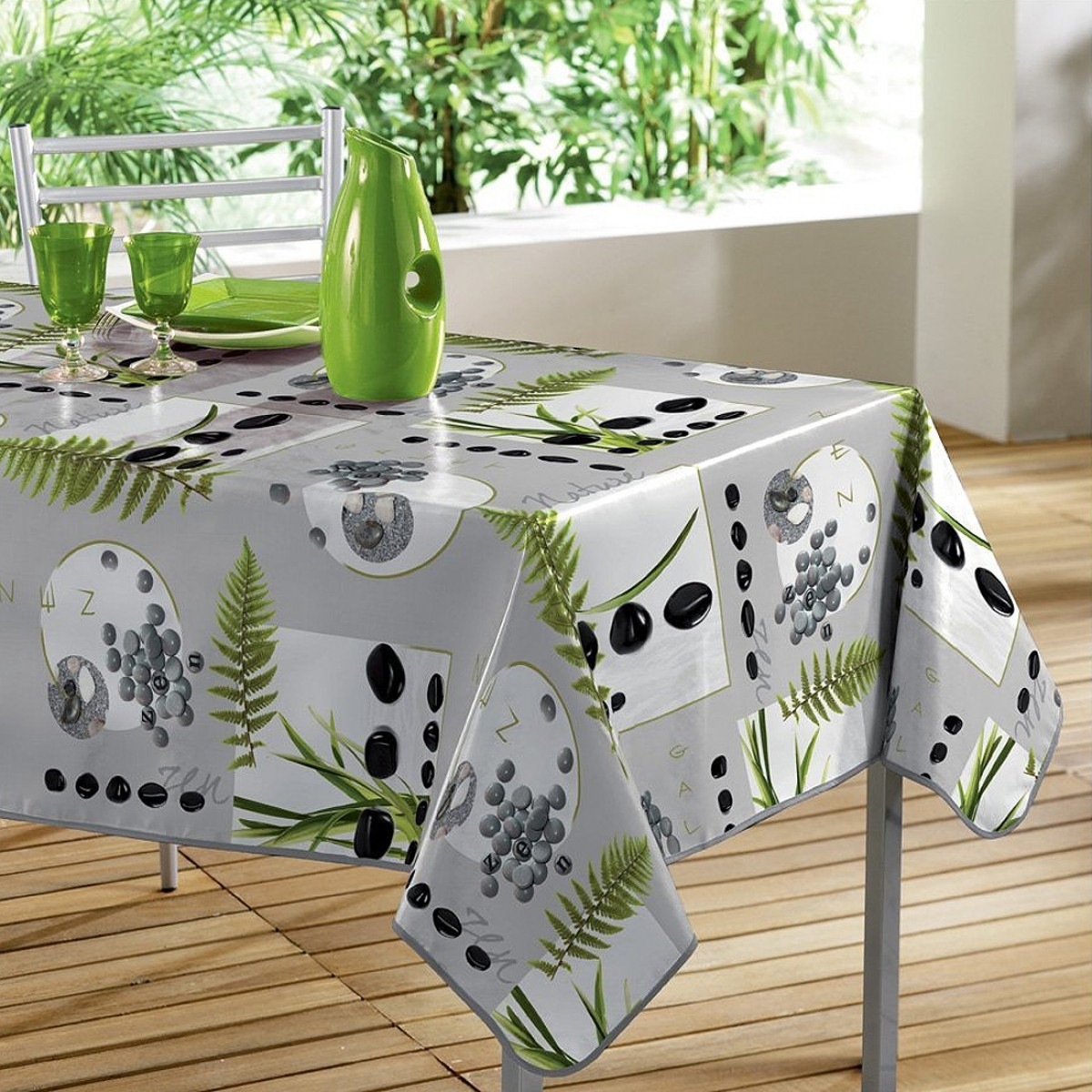 nappe en toile cir e jardin zen les douces nuits de ma linge de maison. Black Bedroom Furniture Sets. Home Design Ideas