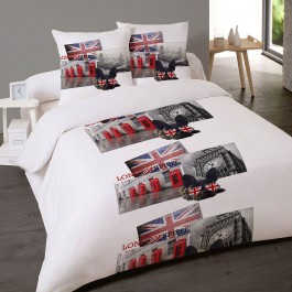Housse couette 200x200 + 2 taies BRITISH STYLE
