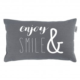 Coussin 30x50 cm Pacifique Anthracite Enjoy and Smile coton