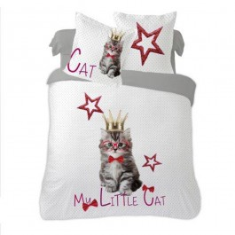 Housse de couette Little Cat 220x240 cm en coton