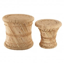 Lot de 2 tables d'appoint corde naturelle