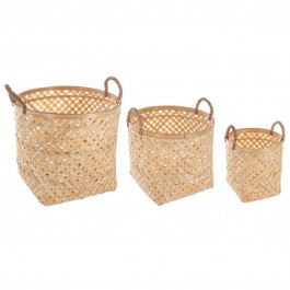 Lot de 3 paniers bambou naturel