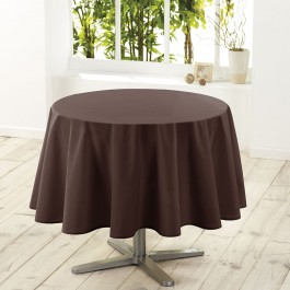 Nappe de table ronde Ø180cm essentiel brun