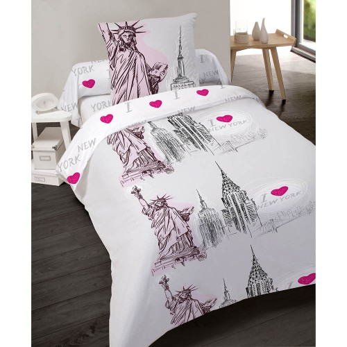 housse de couette ny statue 140x200cm en polycoton les douces nuits de ma linge de maison. Black Bedroom Furniture Sets. Home Design Ideas