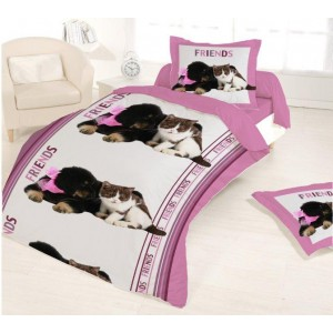 Housse couette 140X200 + 1 taie TENDER FRIEND