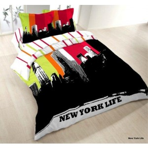 Housse couette 220x240 + 2 taies NEW YORK LIFE