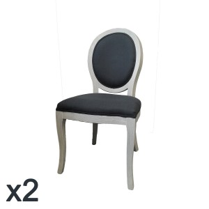 Lot de 2 chaises Médaillon Cléon grises de travers