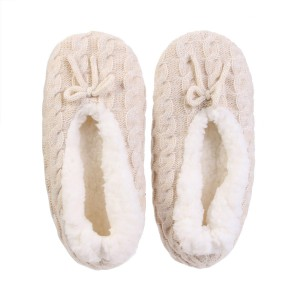Chaussons ballerines nœud Sherpa beige