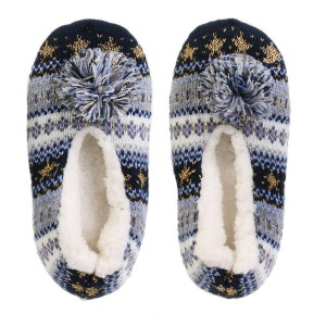 Chaussons ballerines pompon Sherpa bleu