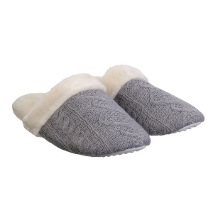 Chaussons femme tricot gris