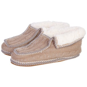Chaussons Sherpa femme beige