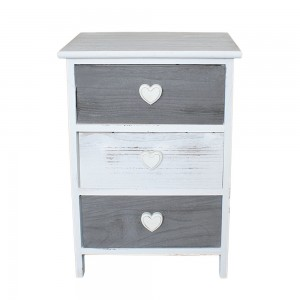 Table de chevet Love blanc 3 tiroirs