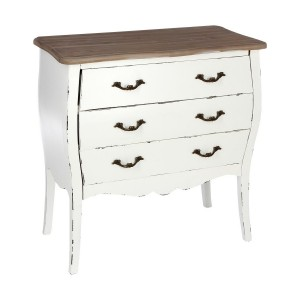 Commode 3 tiroirs blanche charme traditionnel