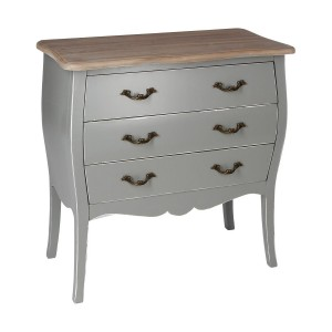 Commode 3 tiroirs grise charme traditionnel