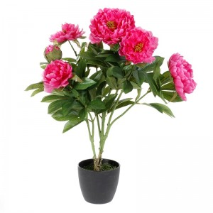 Pivoine artificielle rose avec pot h60cm