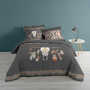 Housse de couette 240x260 Indian Folk + 2 taies 100% coton