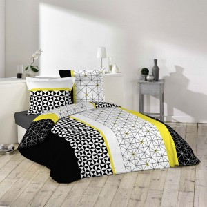 Housse de couette 220x240 Yellowmetric + 2 taies 100% coton